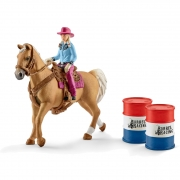 Schleich Barrel racing with cowgirl